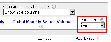 exact match for google keywords