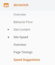 google analytics page speed suggestions